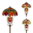 Stained Glass Flower Floor Light Study Room 3 Heads Tiffany Style Rustic Floor Lamp with Pull Chain