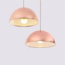Domed Shade Restaurant Hanging Lamp Metal One Light Modern Stylish Pendant Light in Rose Gold