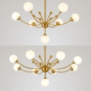 Modern Bedroom LED Lighting Opal 7/9 Light Modo Chandelier in Gold Finish