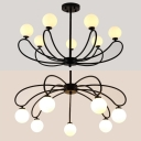 Opal Glass Spherical Shade Chandelier 8 Lights Simple Style Pendant Light in Black for Cafe Villa