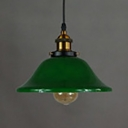 Industrial Bell Shade Pendant Light 1 Light Glass Pendant Lamp with Pulley in Green for Cloth Shop
