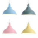 Metal Gourd Shape Pendant Lamp 1 Light Macaron Loft Hanging Light in Blue/Green/Pink/Yellow for Child Bedroom