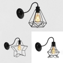 One Light Wire Frame Wall Sconce Retro Loft Iron Wall Light in Black for Stair Restaurant