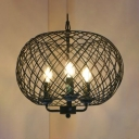 Metal Candle Pendant Light with Globe Cage Restaurant 3 Heads Colonial Style Hanging Lamp in Black