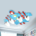 Modern Sky Blue Flush Ceiling Light Airplane Frosted Glass LED Ceiling Fixture for Baby Bedroom