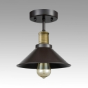 Metal Conical Shade Semi Flush Mount Light Factory 1 Head Antique Style Ceiling Fixture in Black