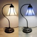 Simple Style Bell Desk Light Art Glass Metal 1 Light Blue/Beige Desk Lamp for Bedside Table