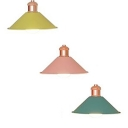 Macaron Candy Colored Pendant Light Conical Shade One Light Metal Suspension Light for Dining Room