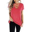 Womens Sexy Hollow Crisscross V-Neck Short Sleeve Casual Loose Plain T-Shirt