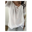 Womens Unique Trendy Tied V-Neck Basic Solid Color Casual Loose T-Shirt