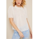 Unique Stylish Round Neck Short Sleeve Scalloped Hem White Loose Fit T-Shirt Top