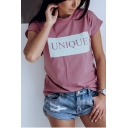 Summer Simple Letter UNIQUE Pattern Basic Round Neck Short Sleeve Casual Tee