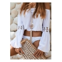 Womens Fashion Holiday Simple Plain Sexy Off the Shoulder Flared Sleeve White Crop Blouse Top