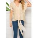 Summer Stylish Pattern V-Neck Short Sleeve Tied Hem Casual Loose Blouse Top