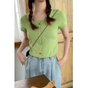 Summer Trendy Solid Color Scoop Neck Short Sleeve Colorful Button Front Crop T-Shirt