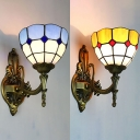 Glass Dome Shade Wall Sconce 1 Light Mediterranean Style Wall Lamp for Living Room Bathroom