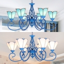Traditional Cone Shade Hanging Light 6 Lights Glass Metal Chandelier in Blue/White for Dining Room