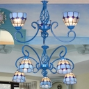 Mediterranean Style Blue Chandelier Dome Shade 3/5 Lights Glass Ceiling Light for Cafe Shop
