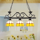 Stained Glass Dome Pendant Light 3 Lights Rustic Style Chandelier for Restaurant Dining Room