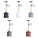 Bucket Shade Dining Room Suspension Light Metal 1 Light Industrial Pendant Lamp with Adjustable Cord