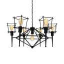 Industrial Black Chandelier with Wire Frame 7 Lights Metal Ceiling Light for Restaurant Bar