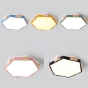 Macaron Hexagon LED Flush Mount Light Acrylic Wood Ceiling Fixture in Warm for Kid Bedroom