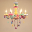 6 Lights Candle Chandelier Macaron Loft Glass Colorful Suspension Light with Crystal for Girl Bedroom