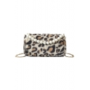 Chic Leopard Pattern Pearl Handle Round Crossbody Bag 22*13*14 CM