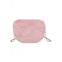 Lovely Solid Color Plush Crossbody Shoulder Bag with Chain Strap 23.5*3.5*19 CM