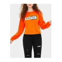 Hot TOKYO Letter Print Round Neck Long Sleeve Orange Pullover Sweatshirt