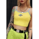 Lovely Rainbow Planet Printed Spaghetti Straps Sleeveless Embroidered Cropped Yellow Cami