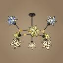 Glass Star Shape Chandelier Restaurant 9 Lights Tiffany Style Colorful Suspension Light