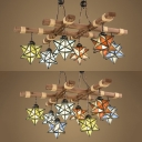 Restaurant Star Shade Suspension Light Stained Glass 6/8 Lights Tiffany Style Rustic Chandelier