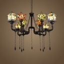 Glass Star & House Chandelier Restaurant 8 Lights Tiffany Style Industrial Hanging Light