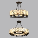 Vintage Style Drum Hanging Light 6/8 Lights Glass Metal Chandelier with Leaf for Dining Room