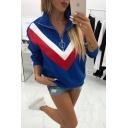 Hot Fashion Women's Colorblock Chevron Stripe Zipper Front Stand Up Collar Long Sleeve Sweatshirt