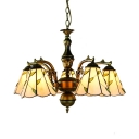 5 Lights Cone Hanging Light with Leaf Tiffany Style Glass Chandelier in Beige for Bedroom