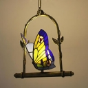 2 Lights Butterfly Pendant Lamp Tiffany Style Rustic Stained Glass Hanging Light for Balcony