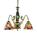 3 Lights Cone Pendant Lamp with Mermaid Tiffany Style Antique Chandelier for Kitchen