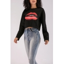 New Stylish Women's Letter YOUNG BAD Lip Print Round Neck Long Sleeve Black Cropped Pullover Sweatshirt