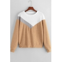 Fashion Color Block Round Neck Long Sleeve Fluffy Sweatshirt
