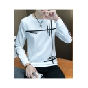 Men's New Stylish Line Printed Long Sleeve Round Neck Pullover Casual Sweatshirt
