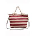 Summer Fashion Color Block Stripe Pattern Straw Beach Bag Shoulder Tote Bag 42*11*28 CM