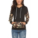 Women's Cool Camouflage Patchwork Long Sleeve Drawstring Hood Black Hoodie with Pocket