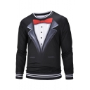 Men's Personalized Blazer Tie Button Print Fake Two Pieces Contrast Hem Round Neck Long Sleeve Black Pullover Sweatshirt