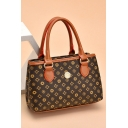 Stylish Printed Button Embellishment Brown Tote Handbag with Zipper for Women 22*7*14 CM