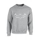 Fashion Comic Bat Printed Round Neck Long Sleeve Sweatshirt