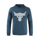 Mens Popular Bull Print Long Sleeve Bodybuilding Slim Fitted Quick Drying Hoodie