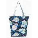 Popular Floral Leaves Printed Black Shoulder Bag for Women 27*11*38 CM