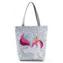 Hot Fashion Unicorn Printed White Shoulder Tote Bag 27*11*38 CM